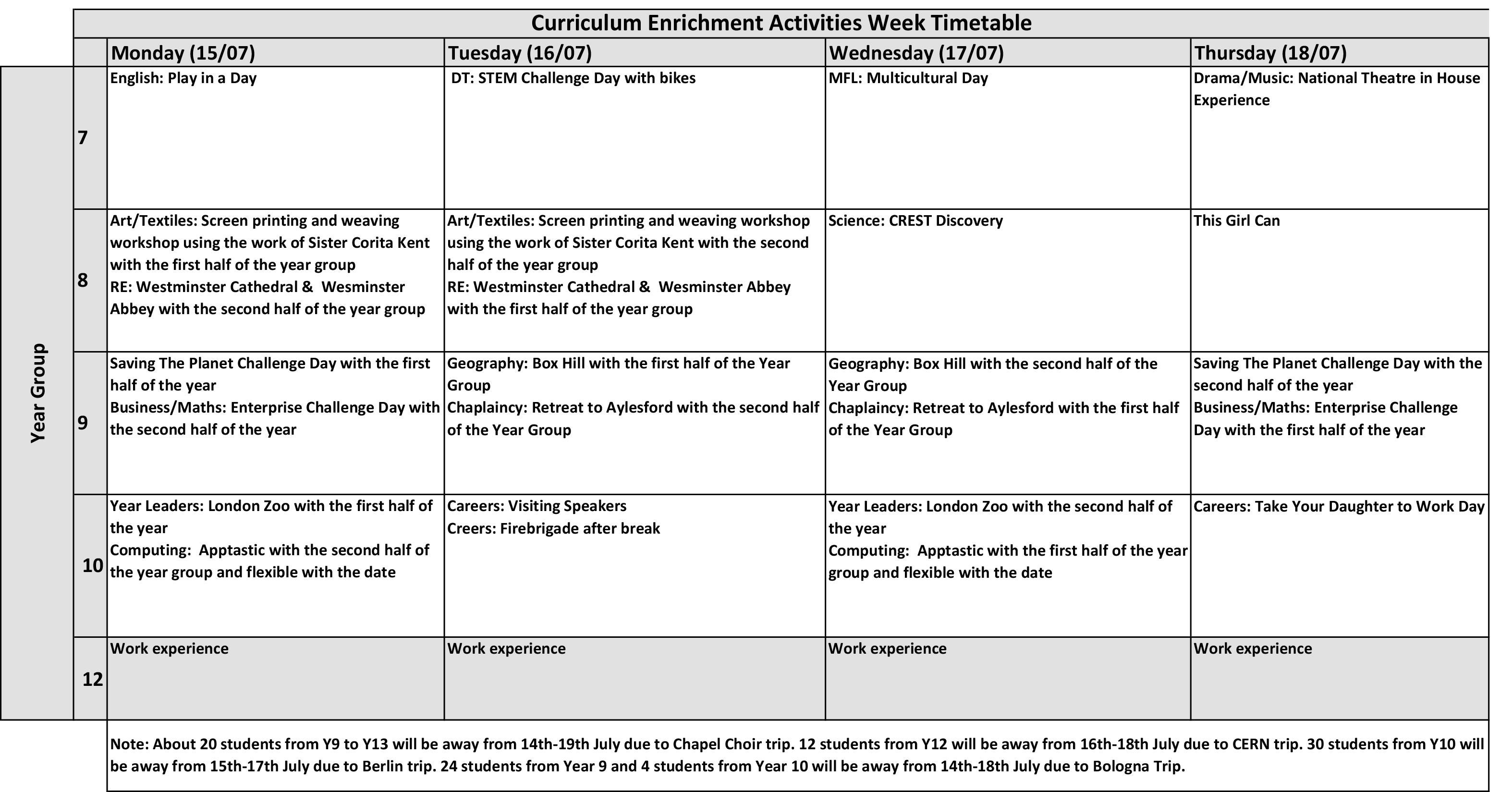 Enrichment Activities Week Programme 19 20 Governors